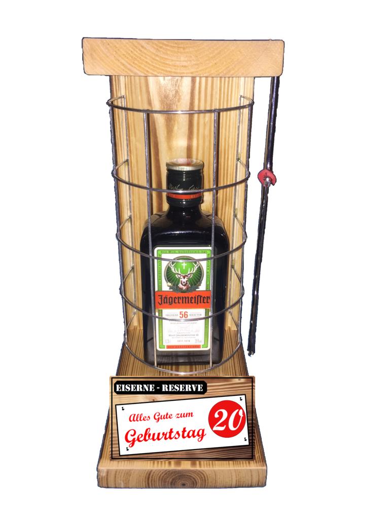 Alles Gute Zum 20 Geburtstag Die Eiserne Reserve Mit Einer Flasche Jägermeister 035l