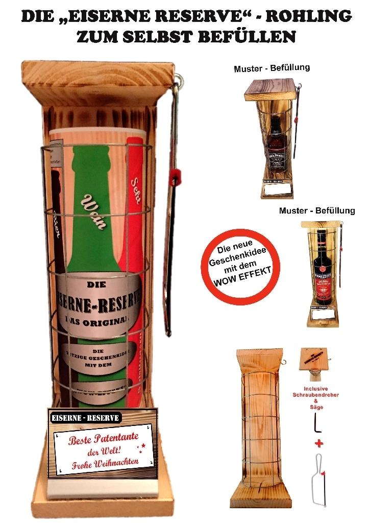 """""""Beste Patentante der Welt! Frohe Weihnachten""""Die Eiserne Reserve ROHLING ZUM SELBST BEFÜLLEN"""