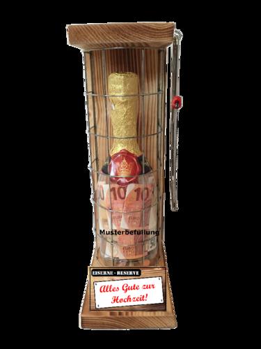 Alles Gute zur Hochzeit - Eiserne Rerserve – Geldgeschenk - Sektflasche zum selbst Befüllen
